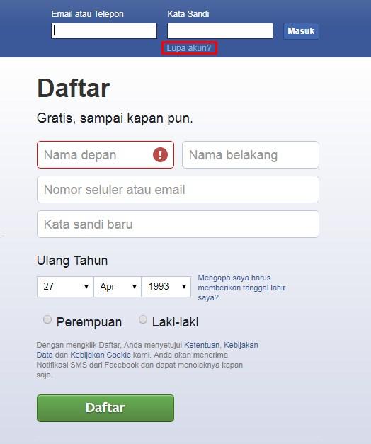 Cara Mengatasi Lupa Password Pada Facebook