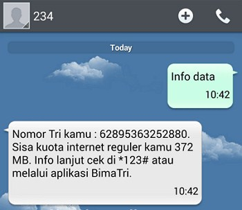 cara cek kuota 3 menggunakan SMS