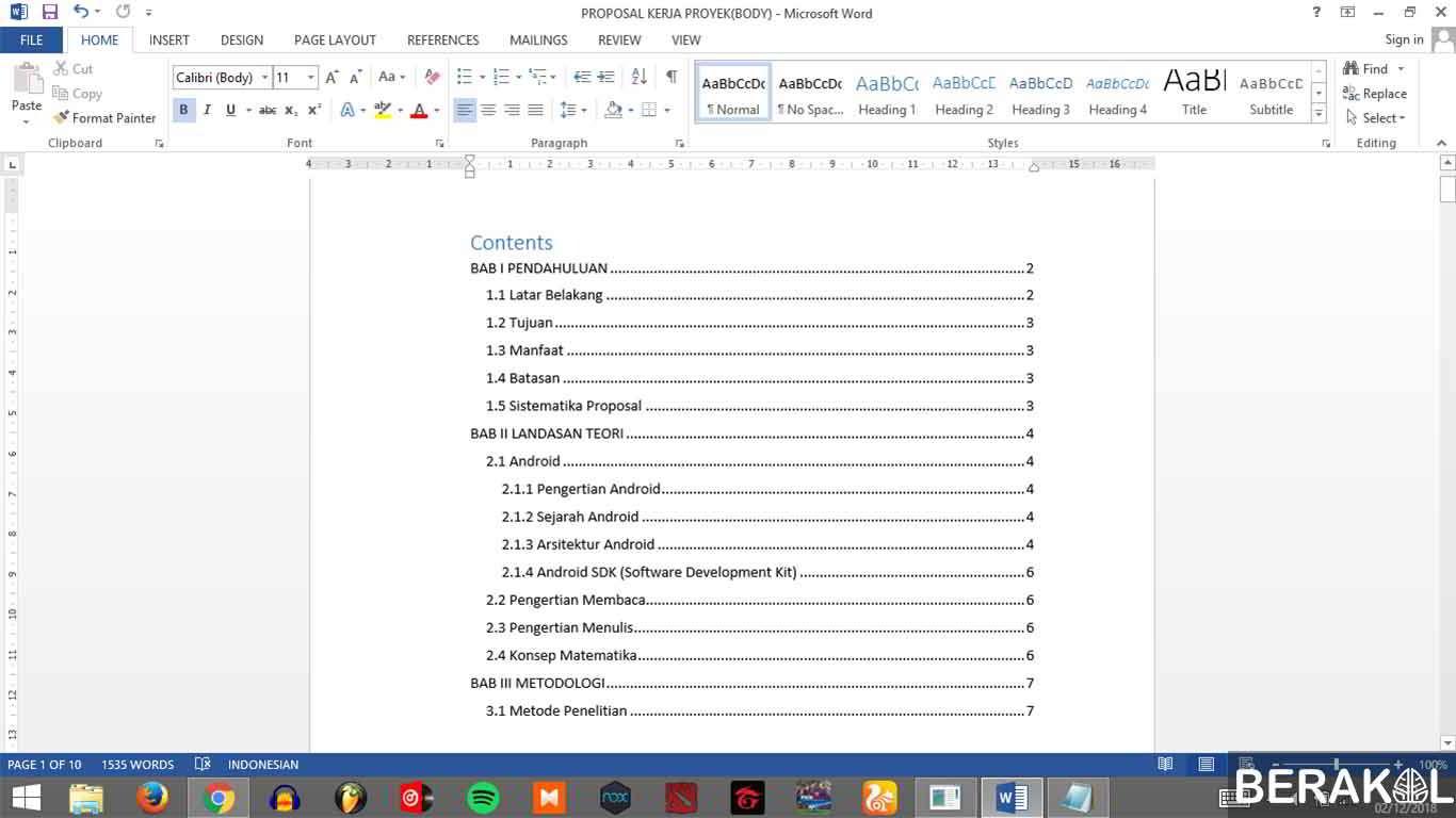 cara membuat daftar isi makalah