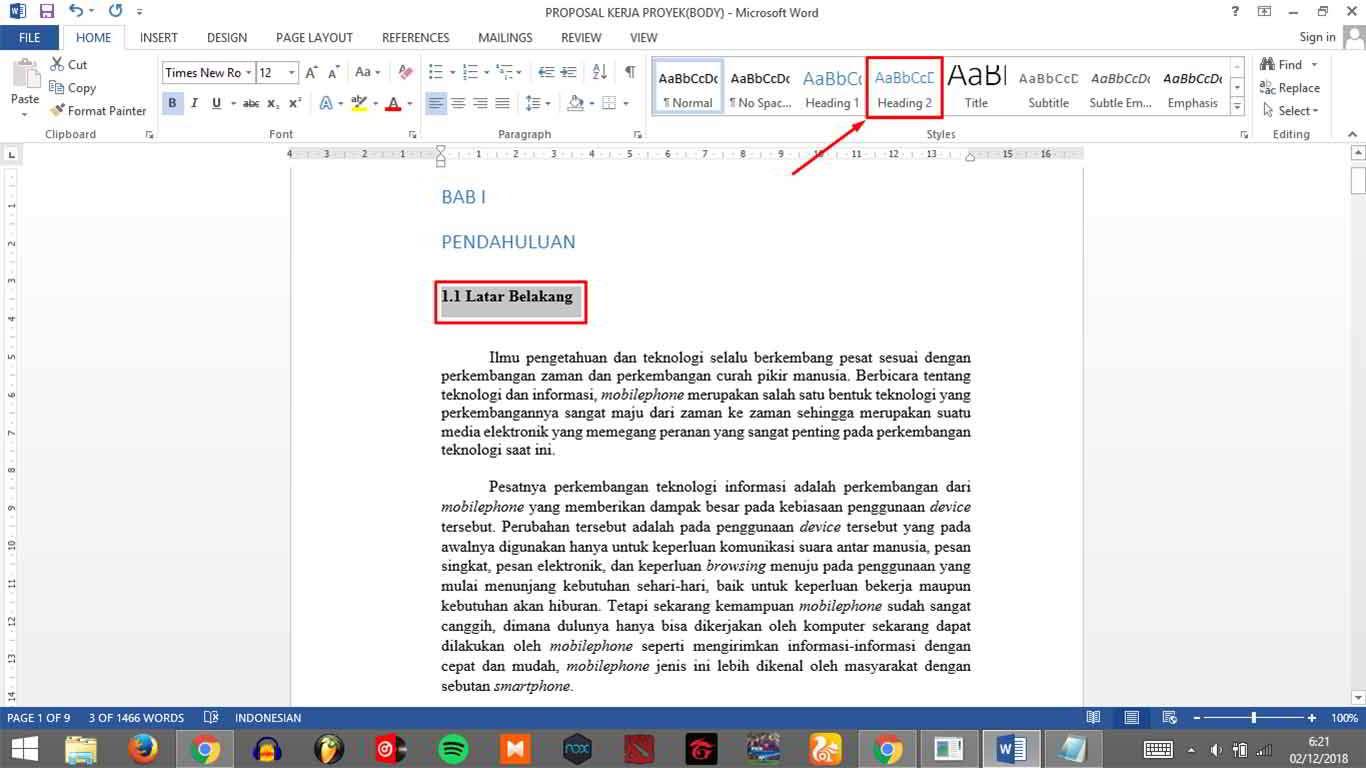 cara membuat daftar isi otomatis di word 2007