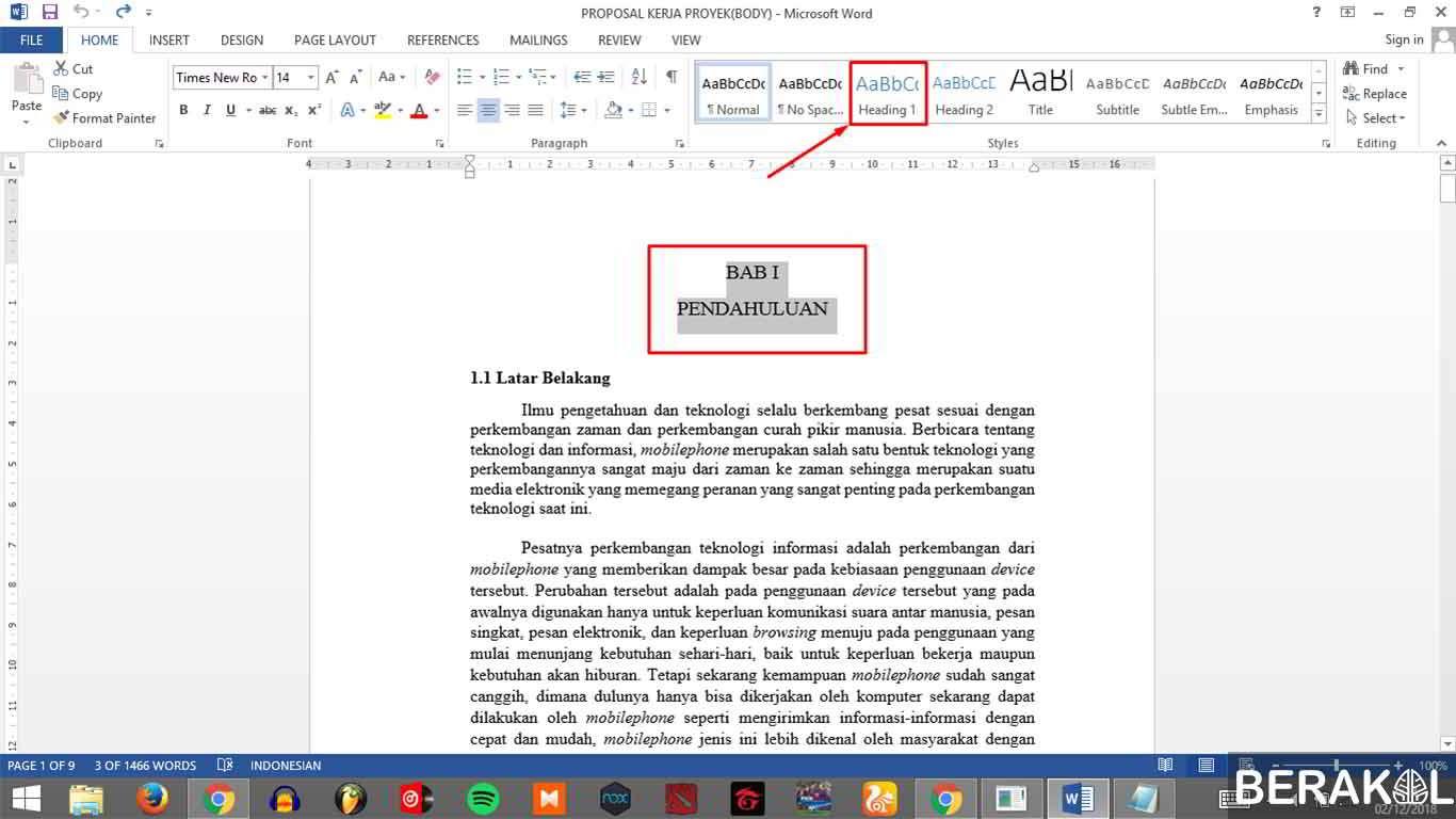 cara membuat daftar isi otomatis word 2010