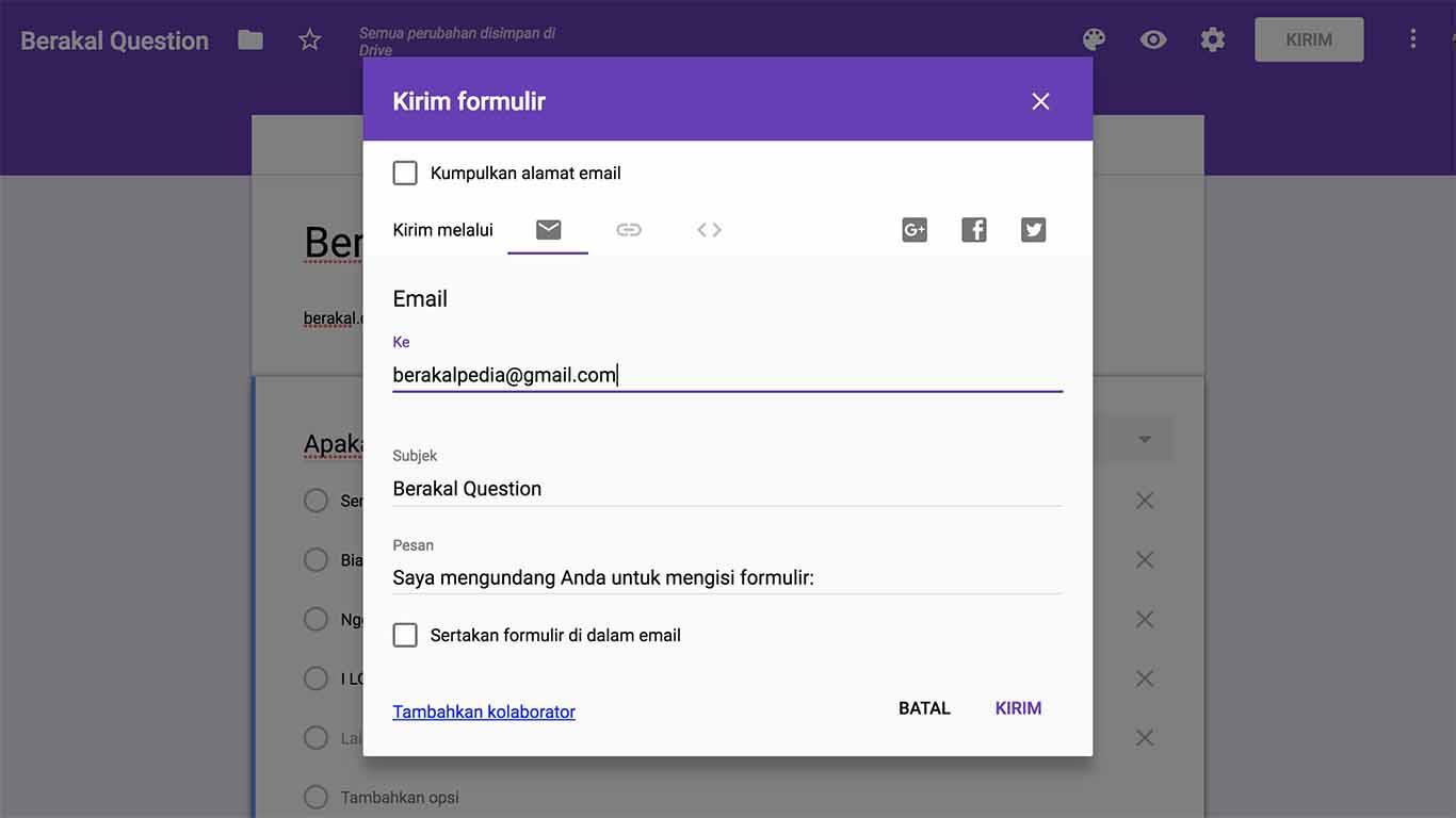 cara membuat google form pendaftaran