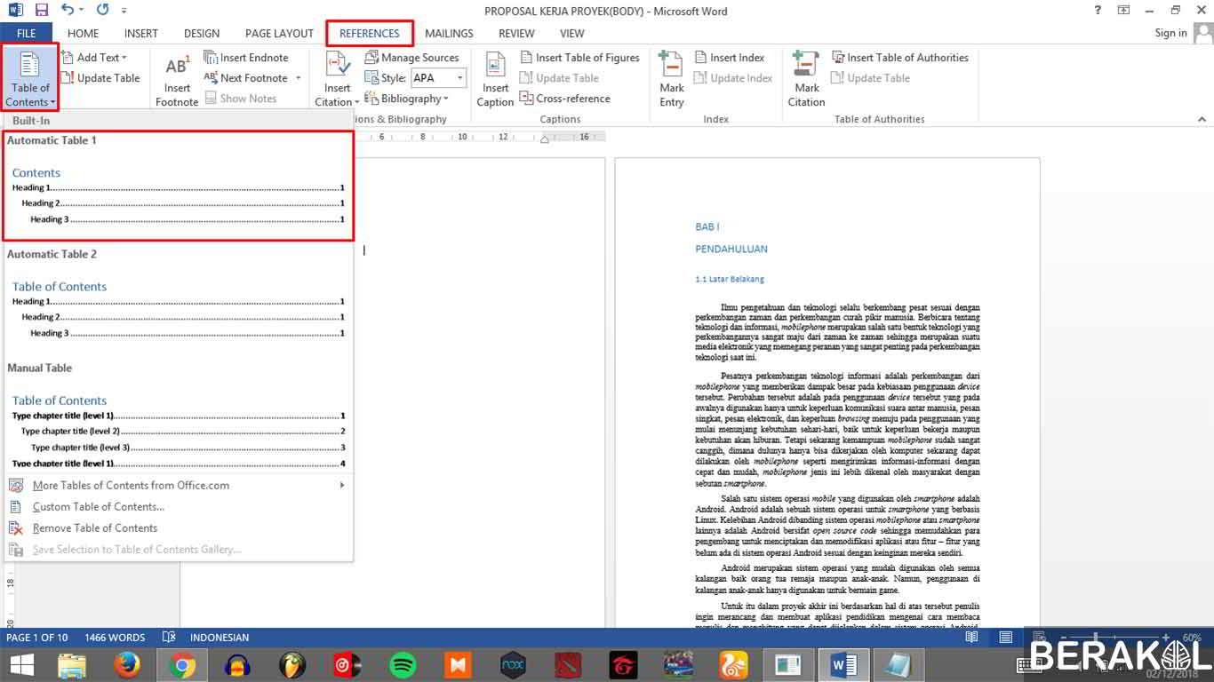 cara membuat titik-titik otomatis pada daftar isi