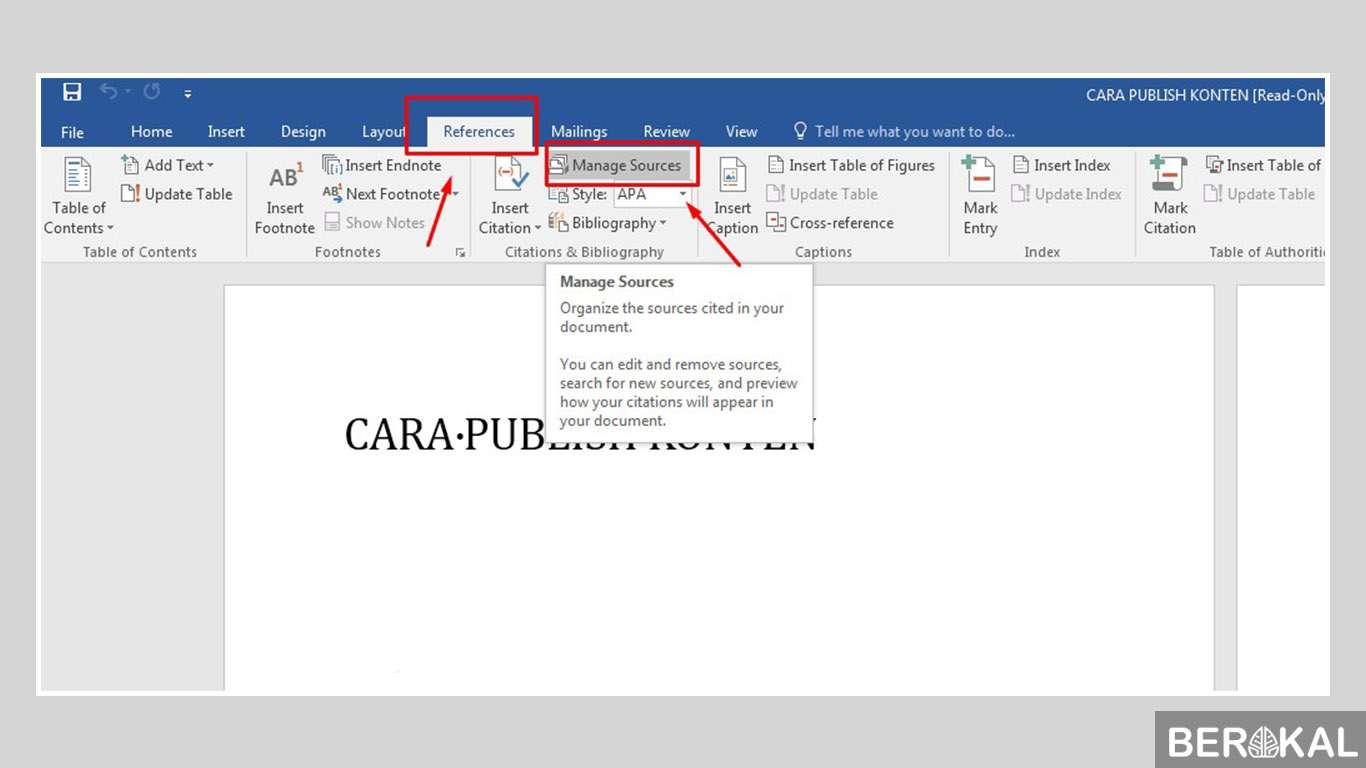 cara membuat daftar pustaka di word 2007