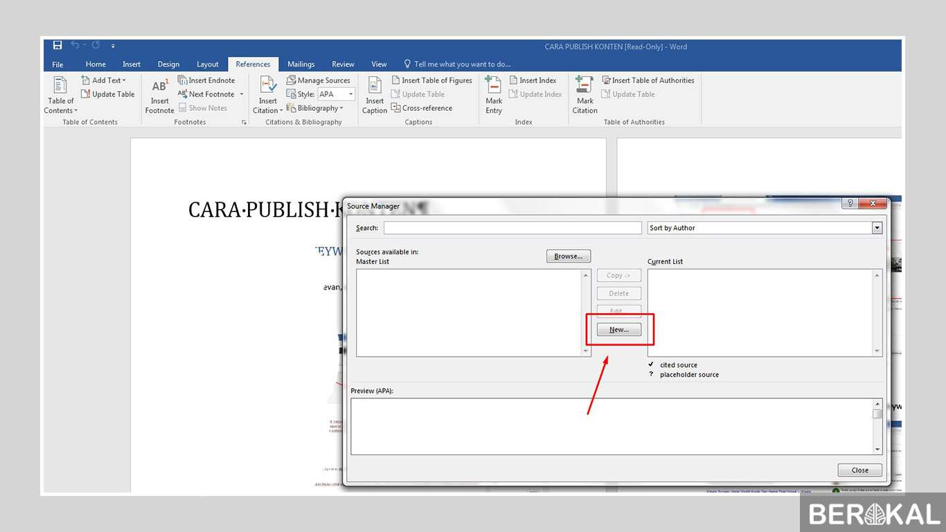 cara membuat daftar pustaka di word 2013