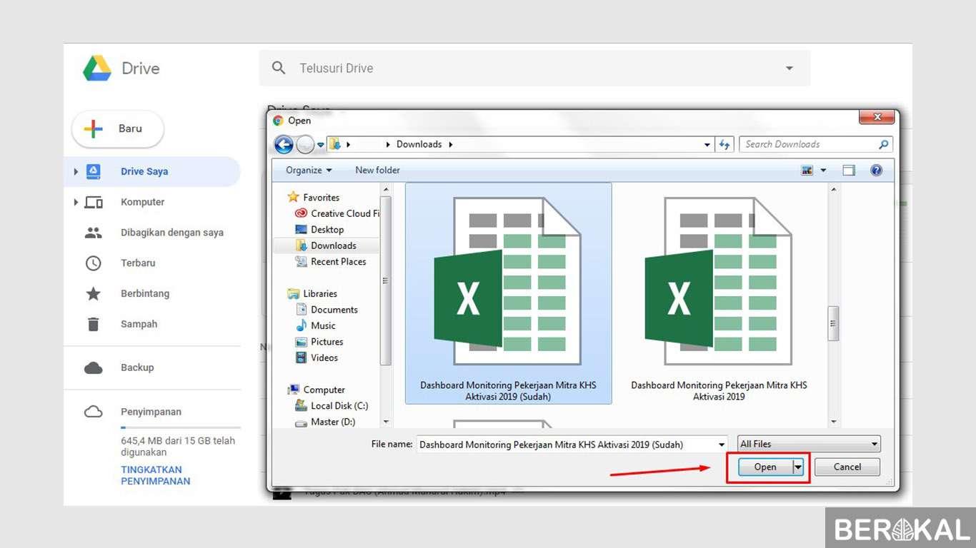 cara menggunakan google drive untuk mengirim file