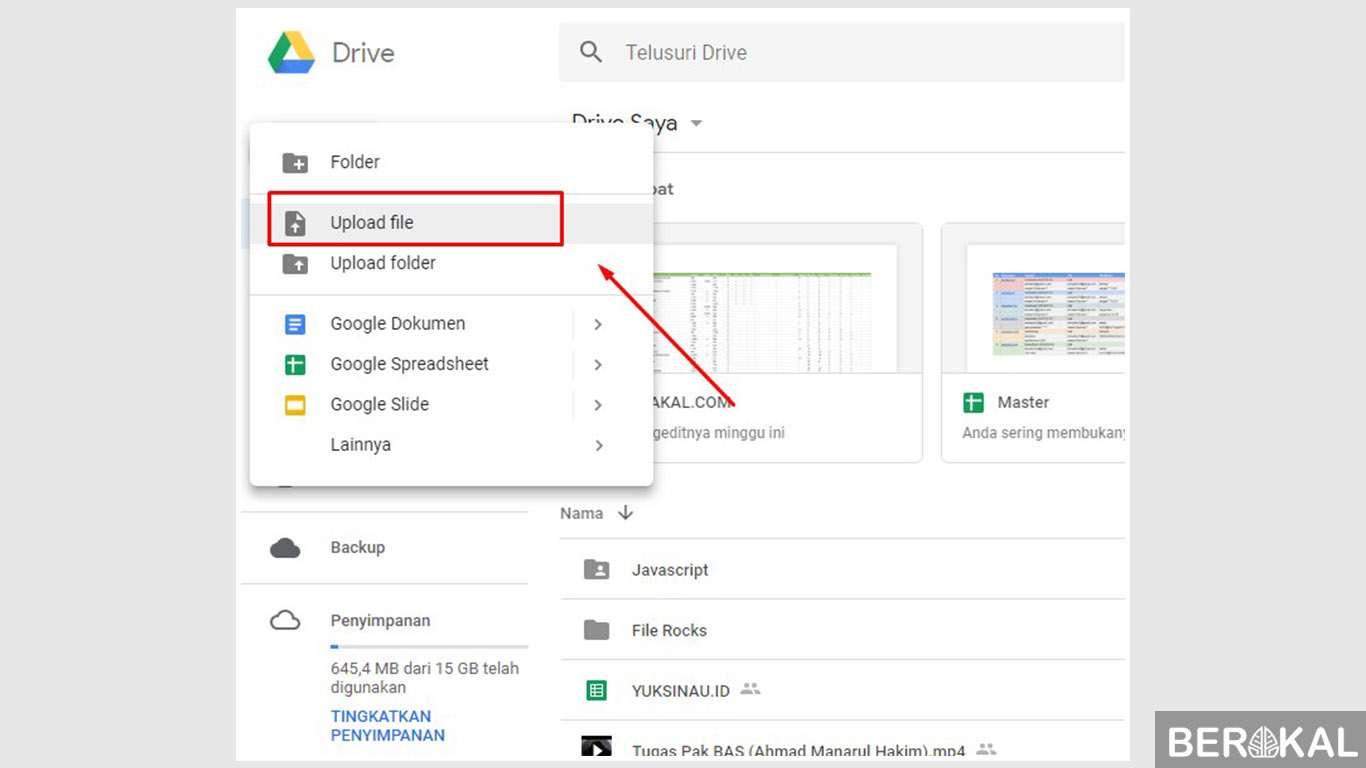 cara menggunakan google drive untuk menyimpan file