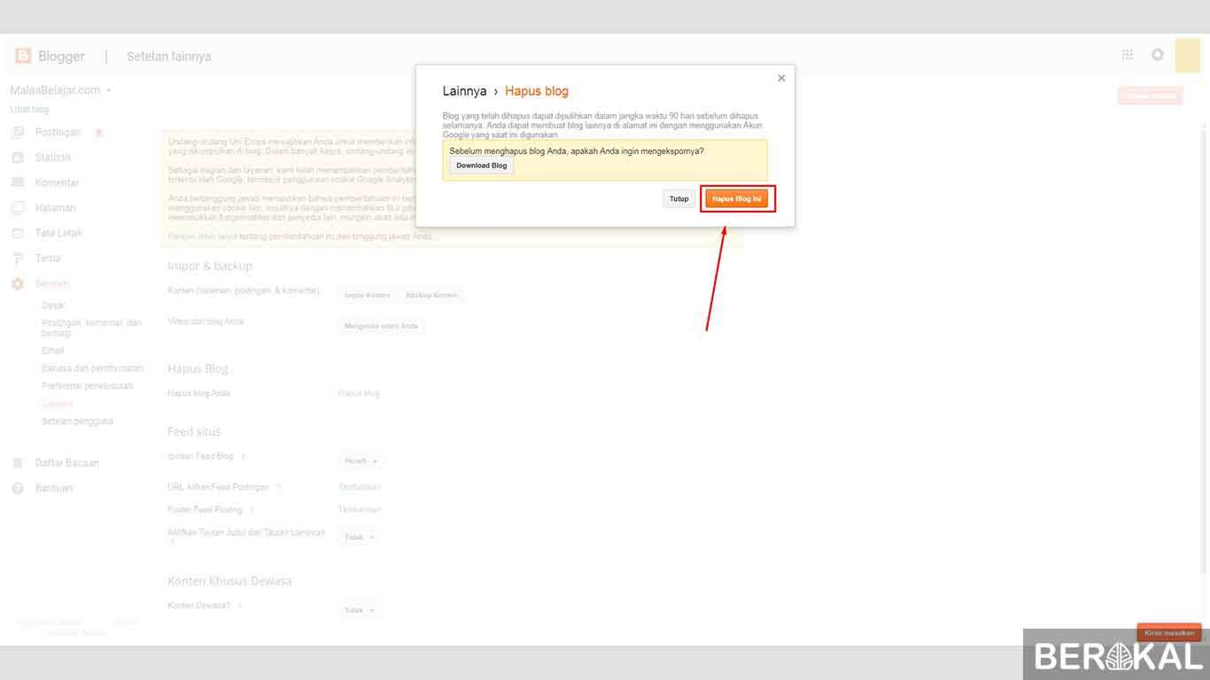 cara menghapus blog lama