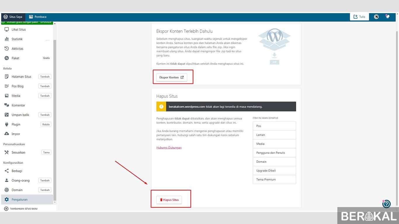 cara menghapus blog pribadi wordpress