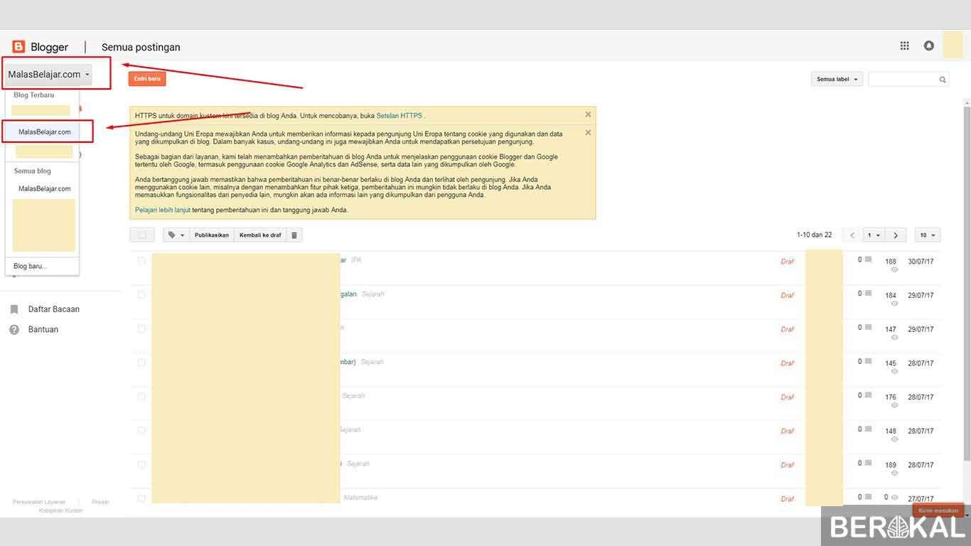 cara menghapus blog pribadi
