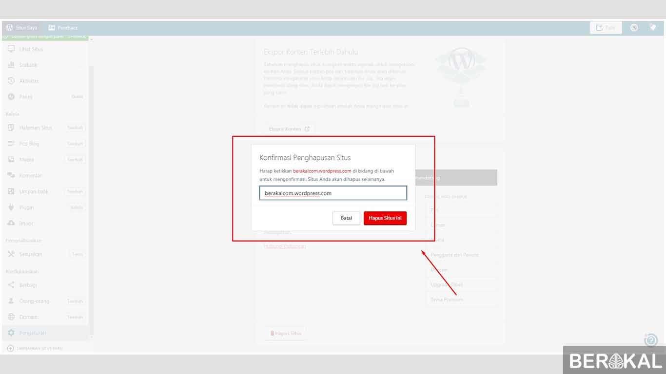 cara menghapus blog wordpress secara permanen