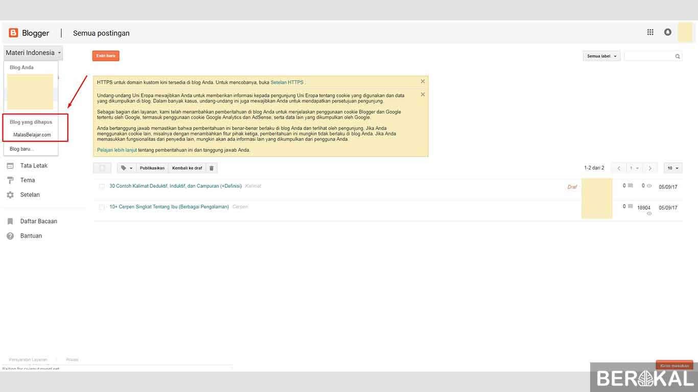cara menghapus blog yang sudah dibuat