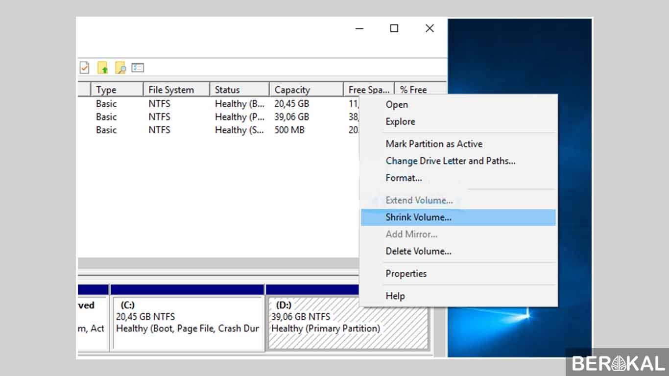 cara partisi hardisk windows 7