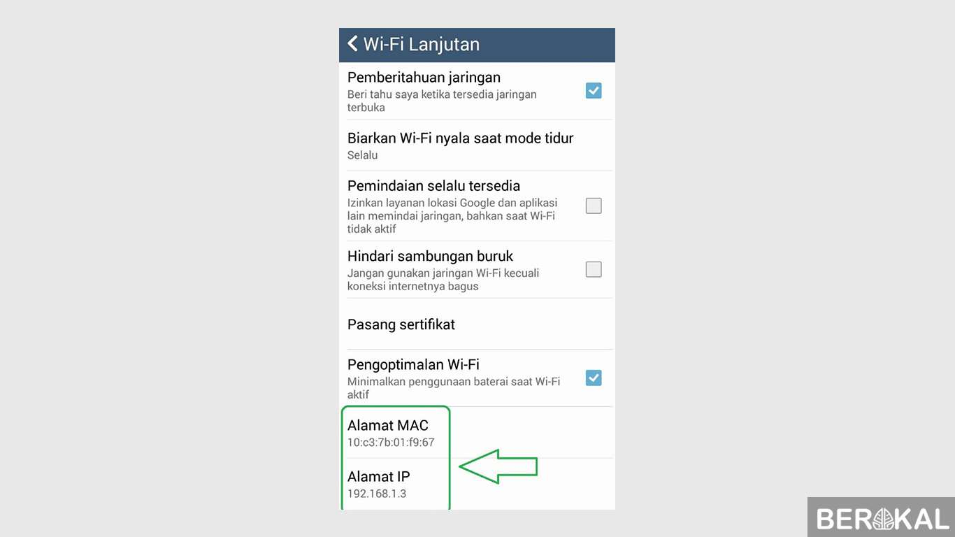 cara melihat ip address android