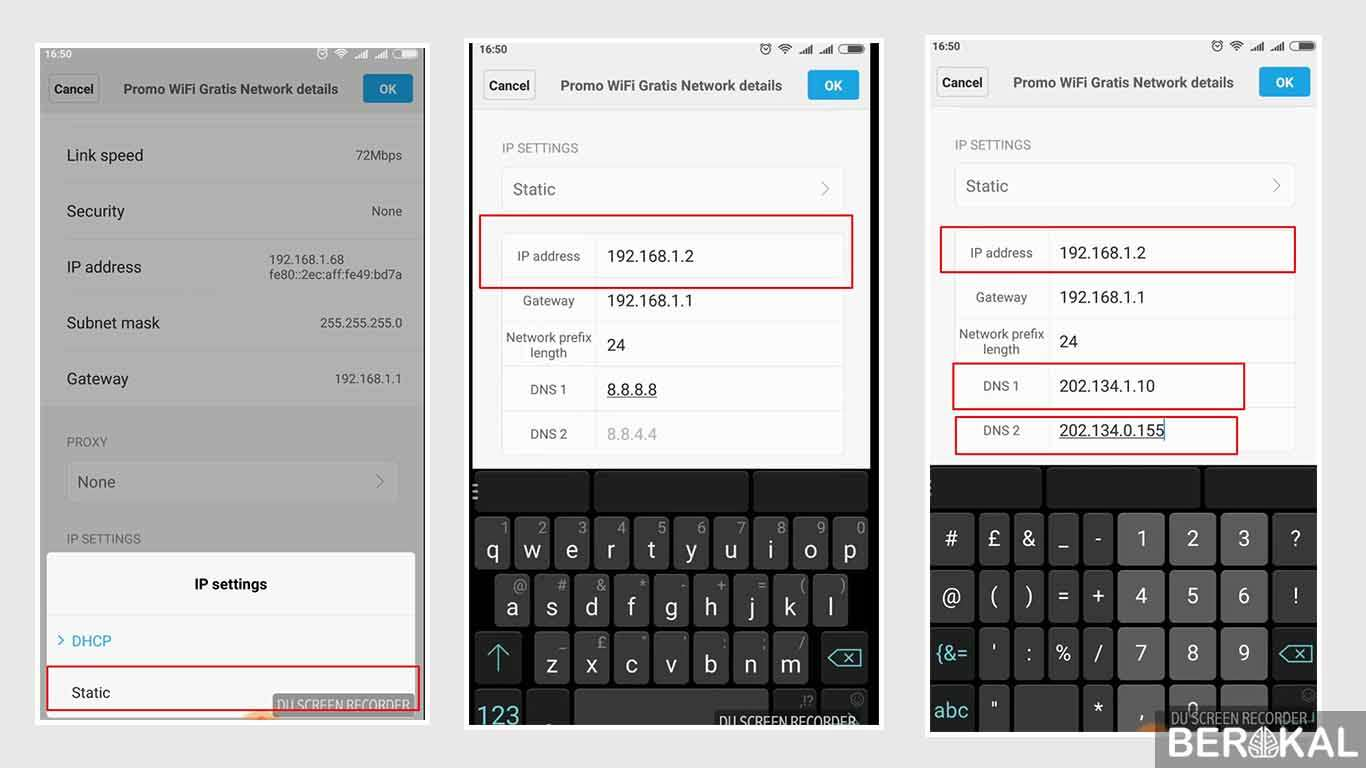 cara mengganti ip address secara manual