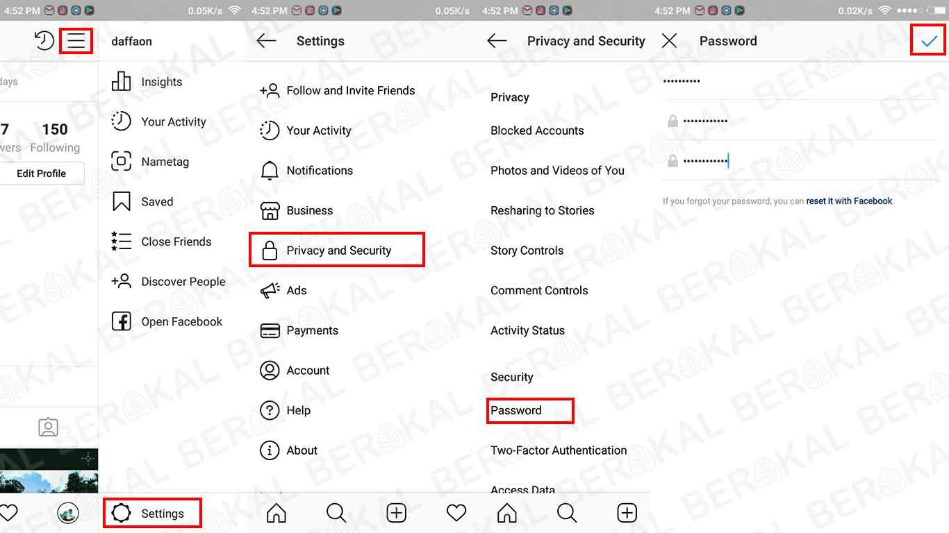 cara ganti password ig terbaru