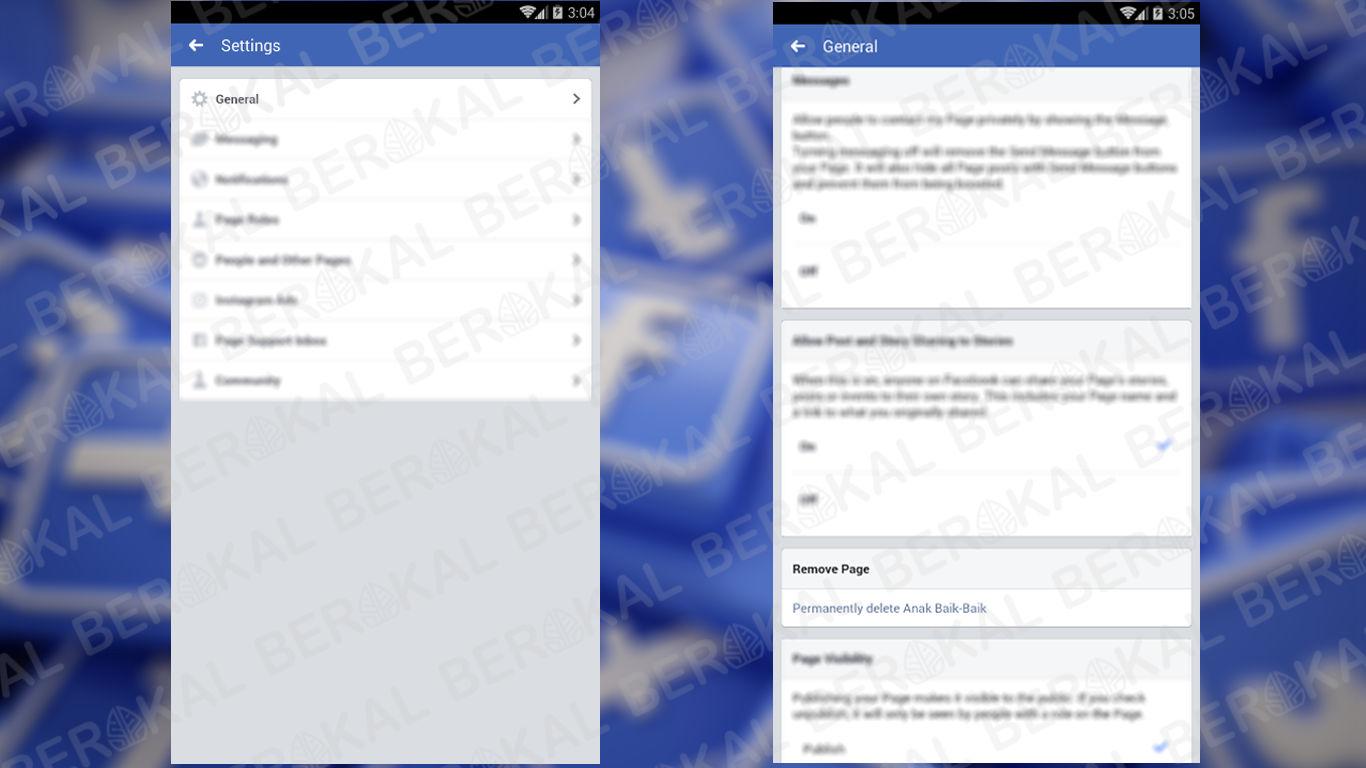 cara menghapus halaman di facebook lewat android