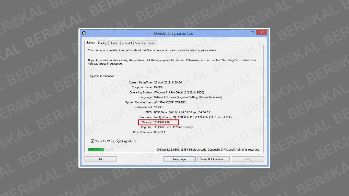 cek ram laptop windows 10
