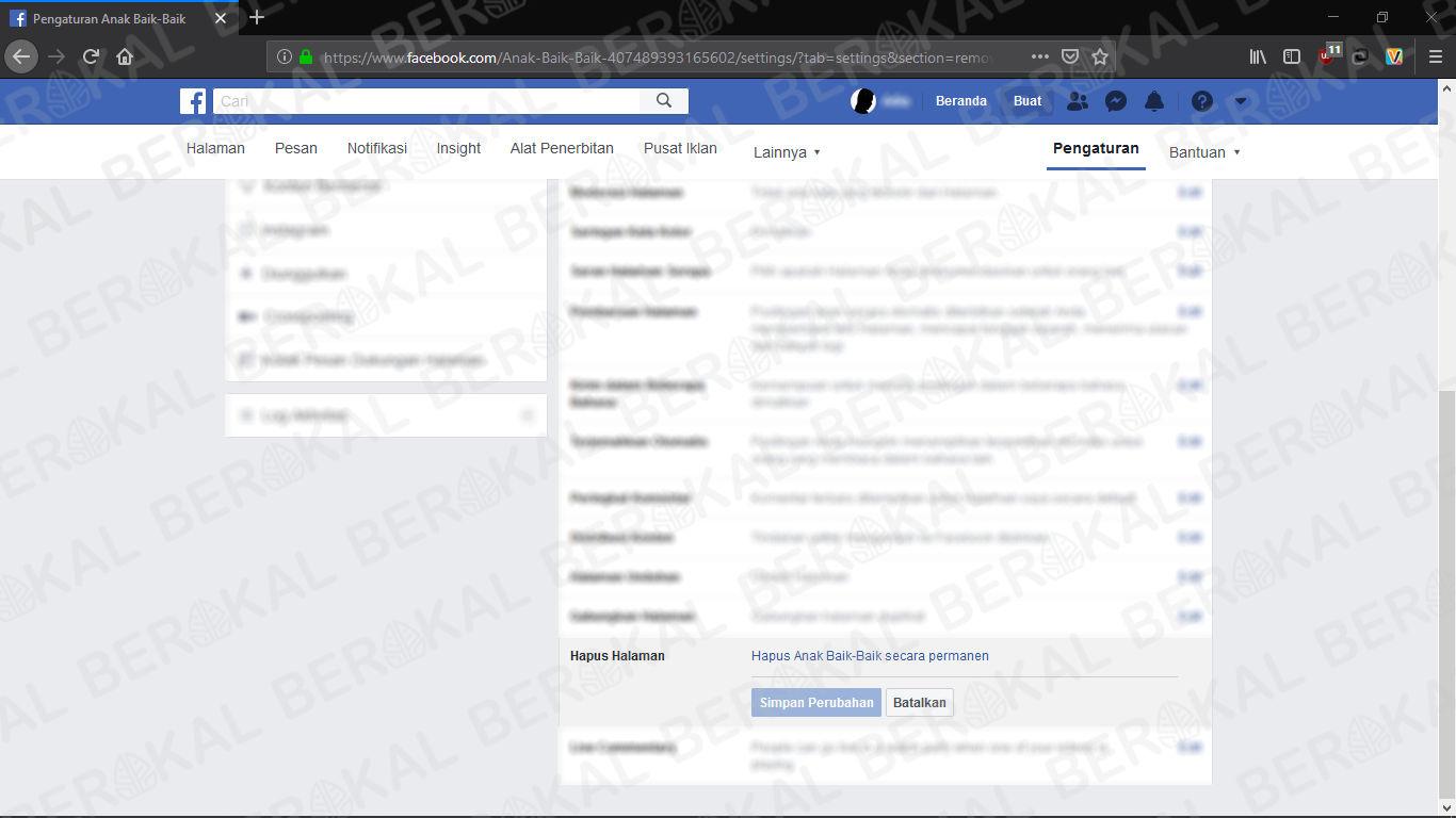 hapus halaman facebook