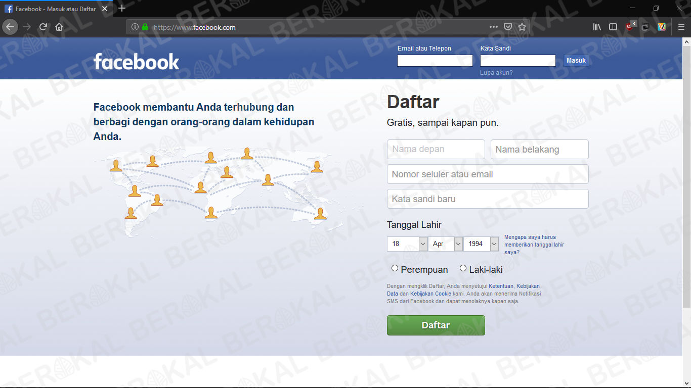 login facebook via laptop