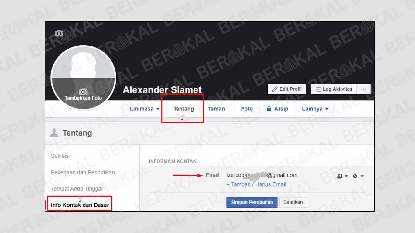 cara melihat email facebook sendiri di hp