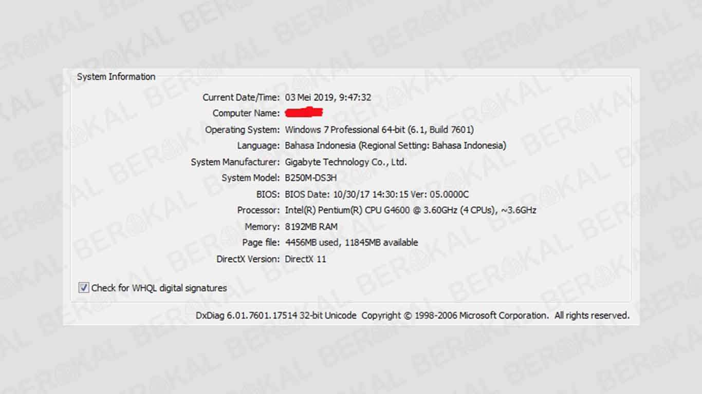 cara melihat tipe laptop melalui cmd