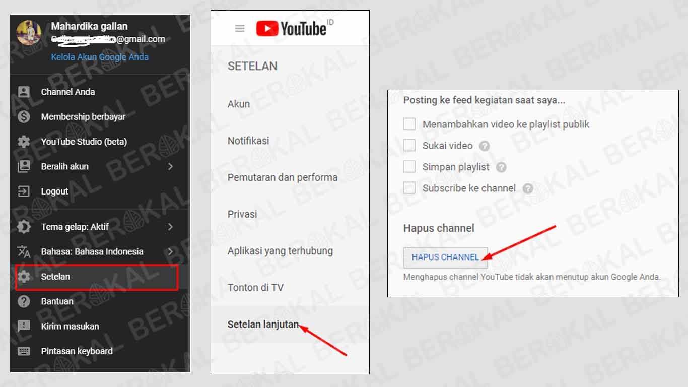 cara menghapus akun youtube orang lain