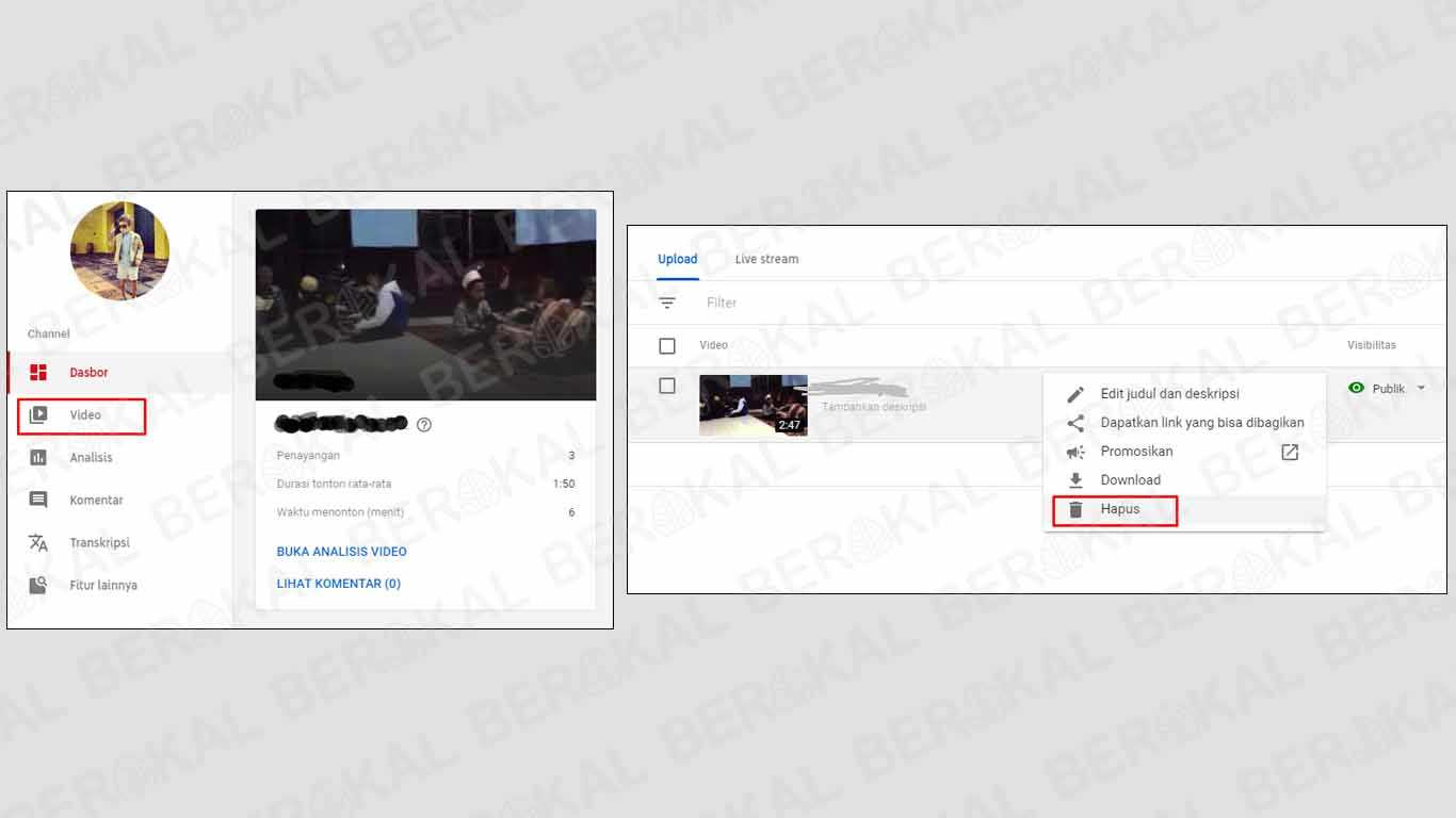 cara menghapus video di youtube tapi lupa email