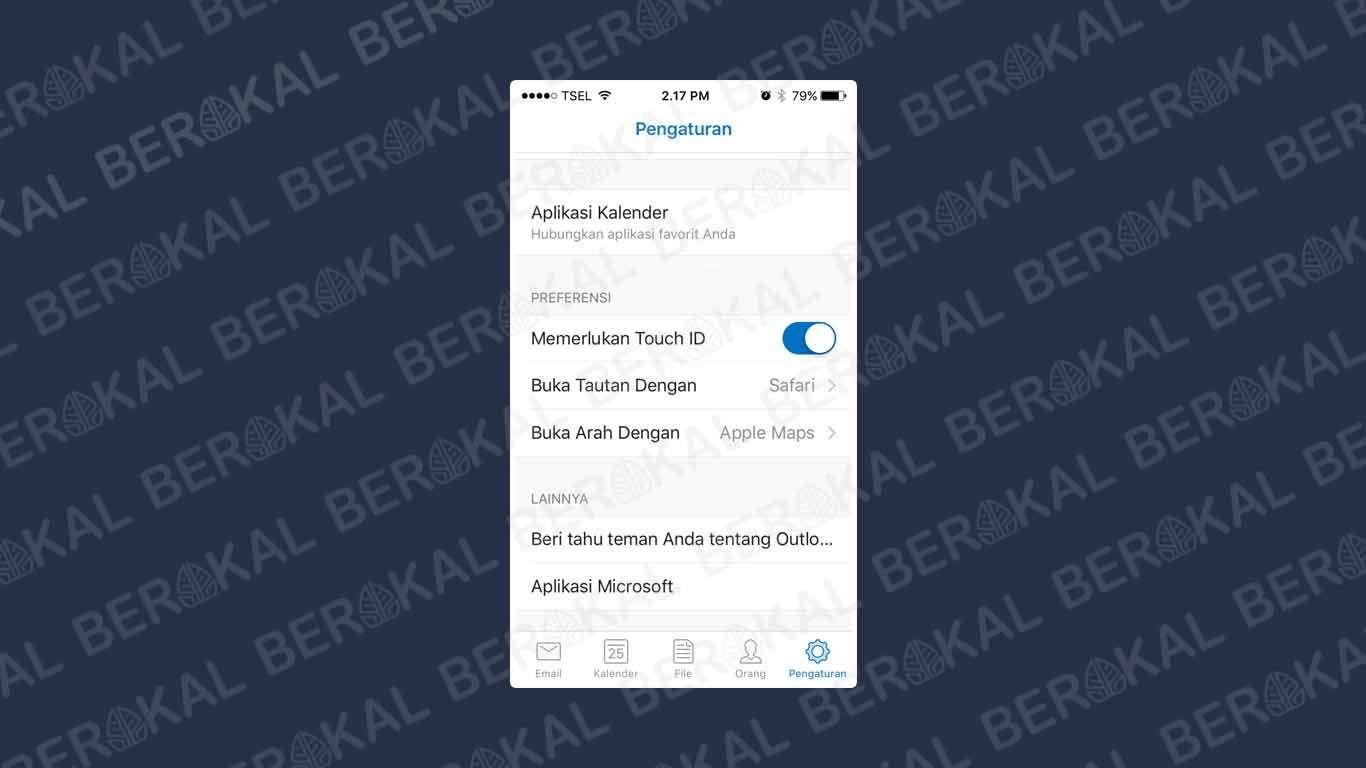 cara mengunci aplikasi outlook di iphone