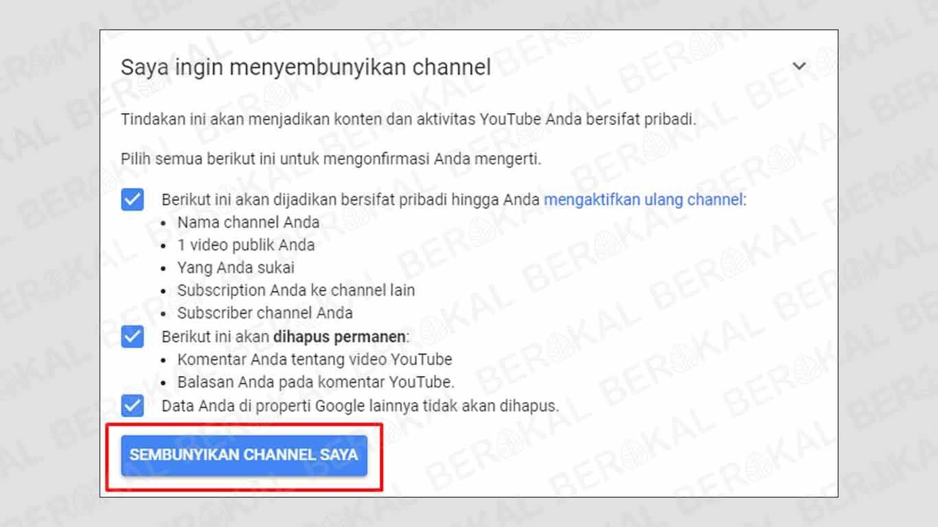 cara menyembunyikan channel youtube