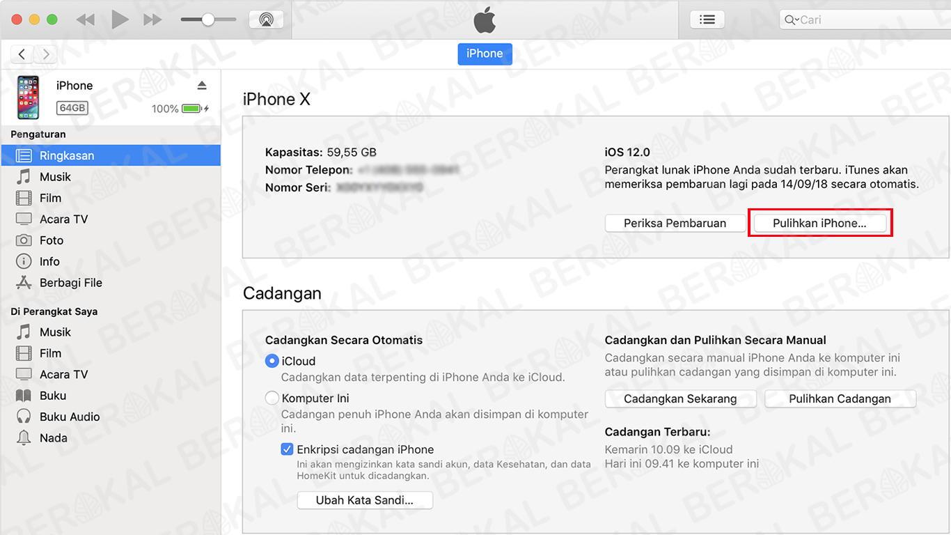 cara restore iPhone dengan iTunes