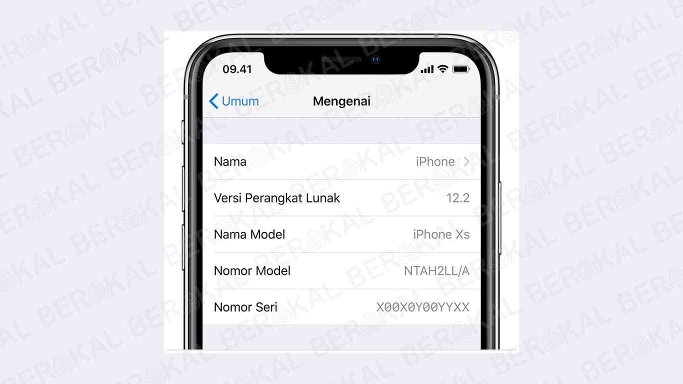 cek model iphone lewat setting