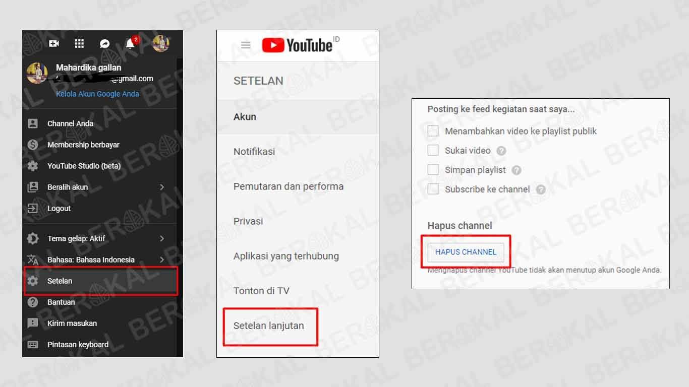 menghapus akun youtube lewat hp