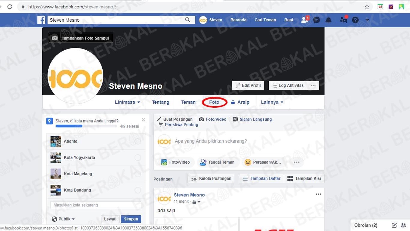 menu profil facebook