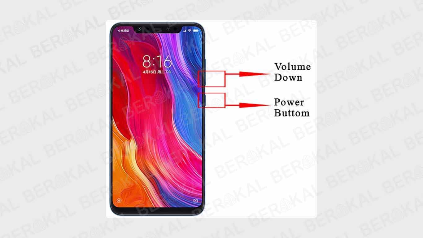 Screenshot Xiaomi dengan Tombol Power dan Volume