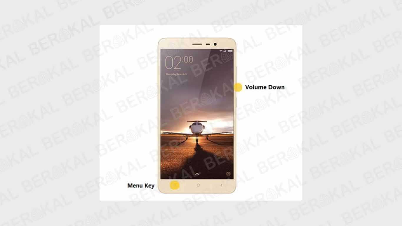 Screenshot Xiaomi dengan Tombol Volume dan Menu Key