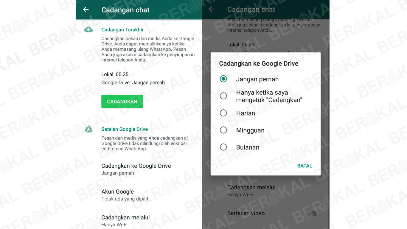 cara backup chat whatsapp ke google drive