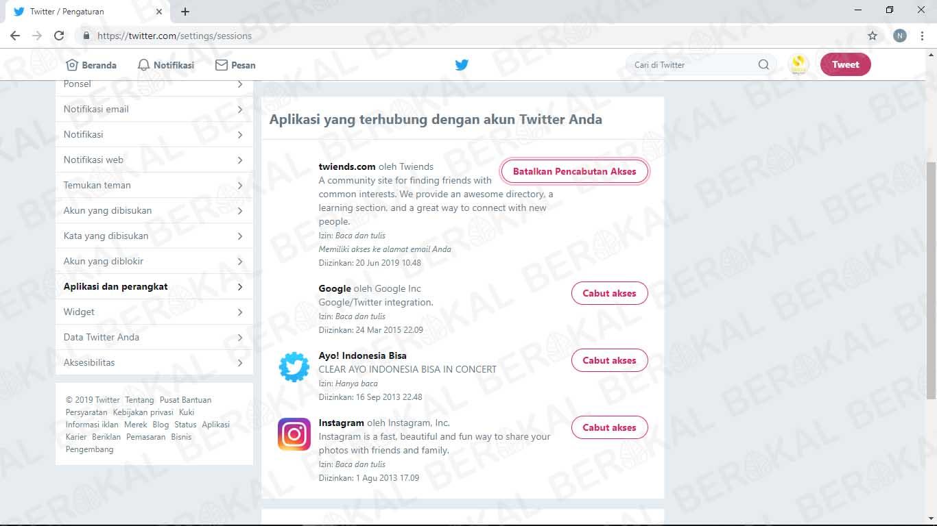 cabut akses aplikasi di twitter