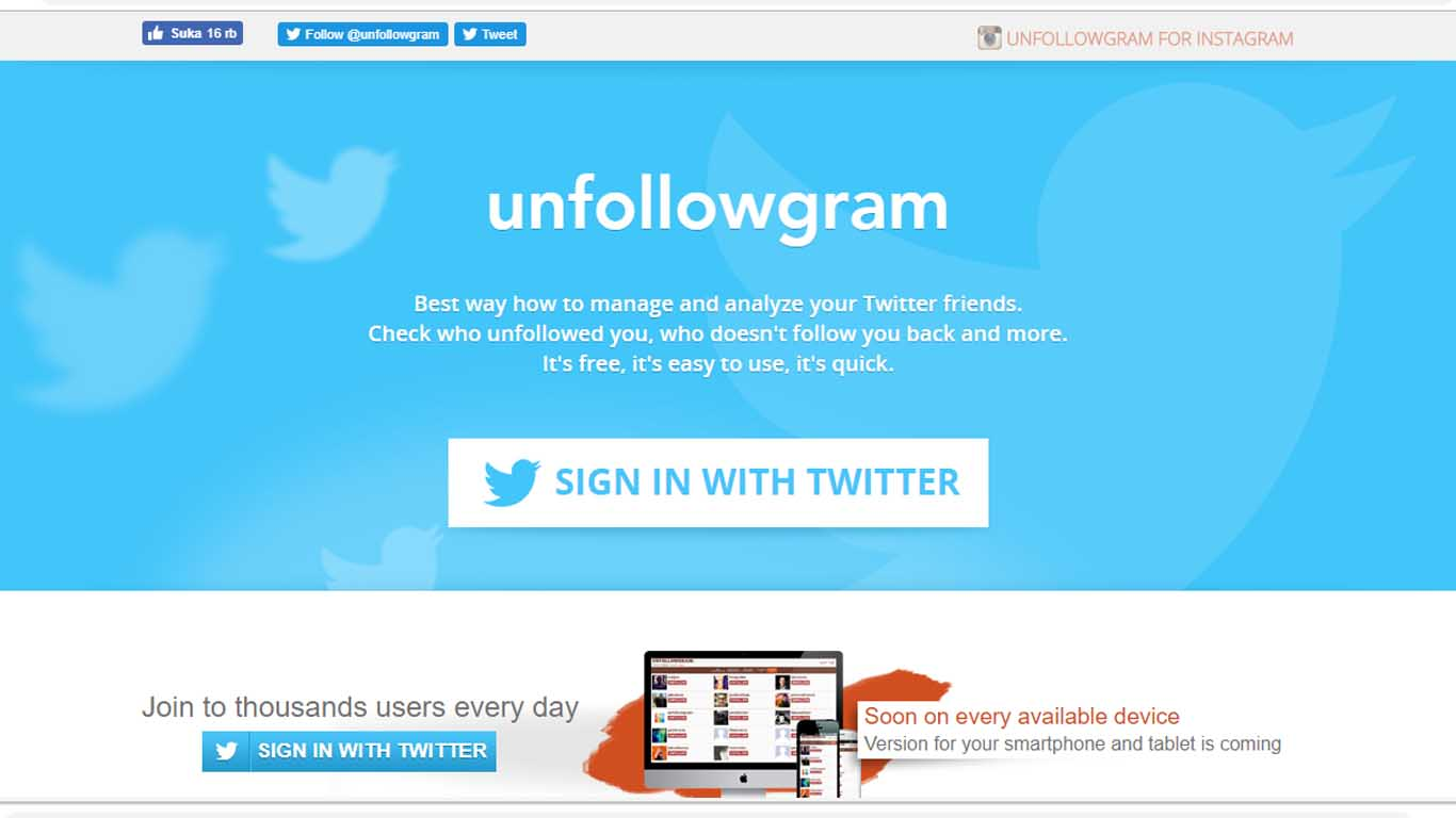 Cara unfollow twitter dengan unfollowgram for twitter