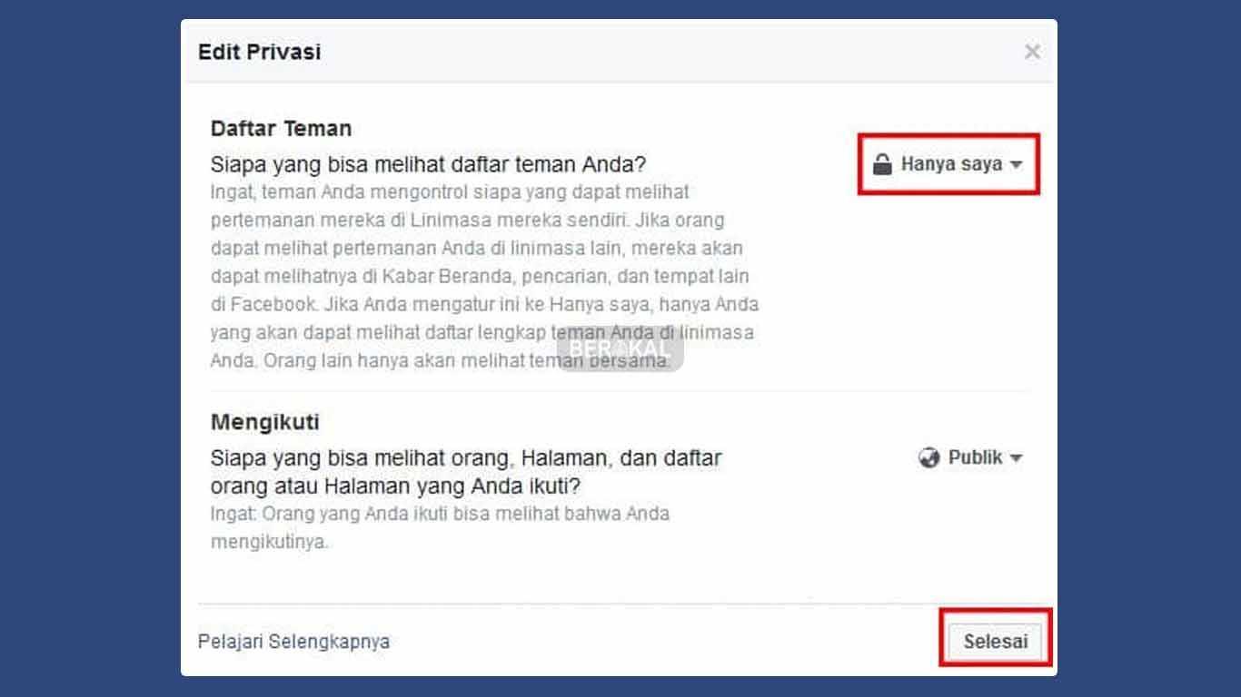 Cara Menyembunyikan Teman Facebook di PC