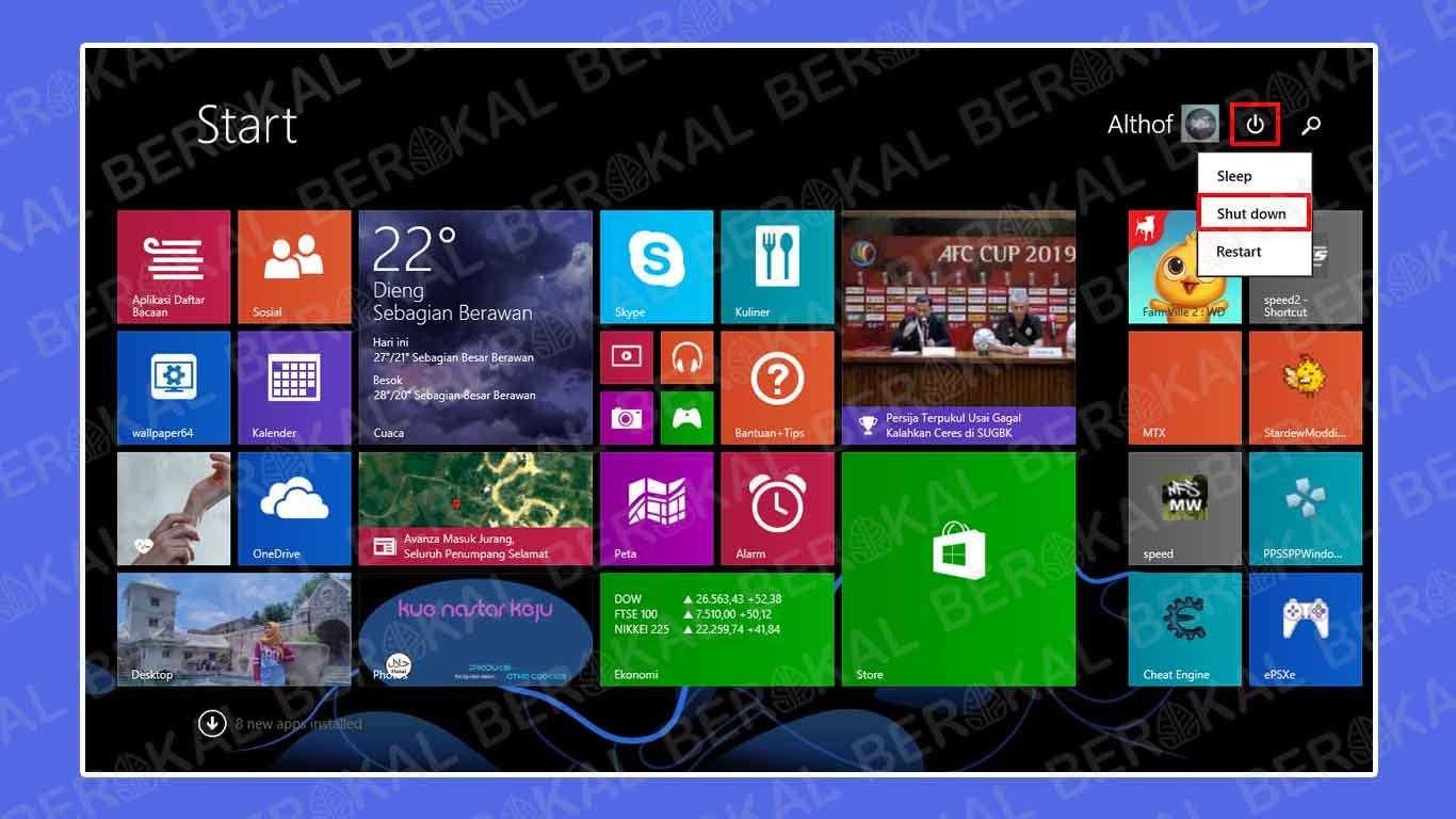 Cara mematikan Windows 8.1 melalui Start Menu