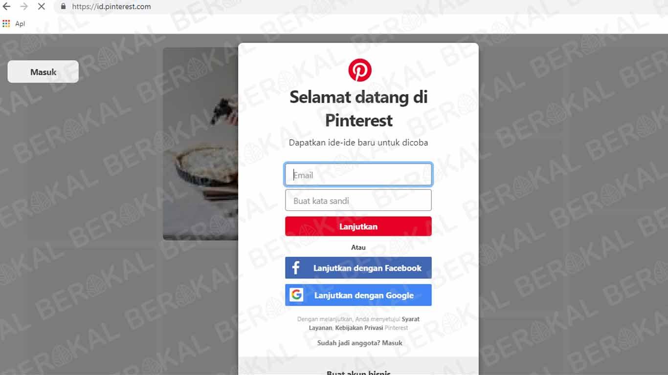 Login Pinterest dengan Akun Google