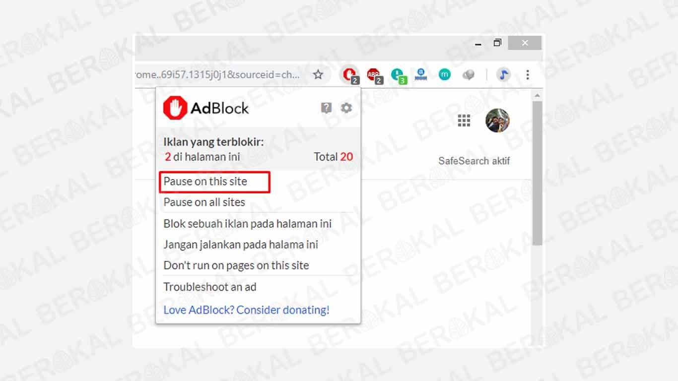 Mematikan AdBlock untuk Situs Web Tertentu