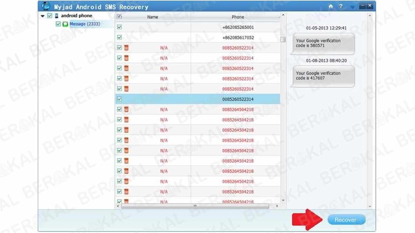 Mengembalikan SMS yang Terhapus dengan MyJad Android SMS Recovery