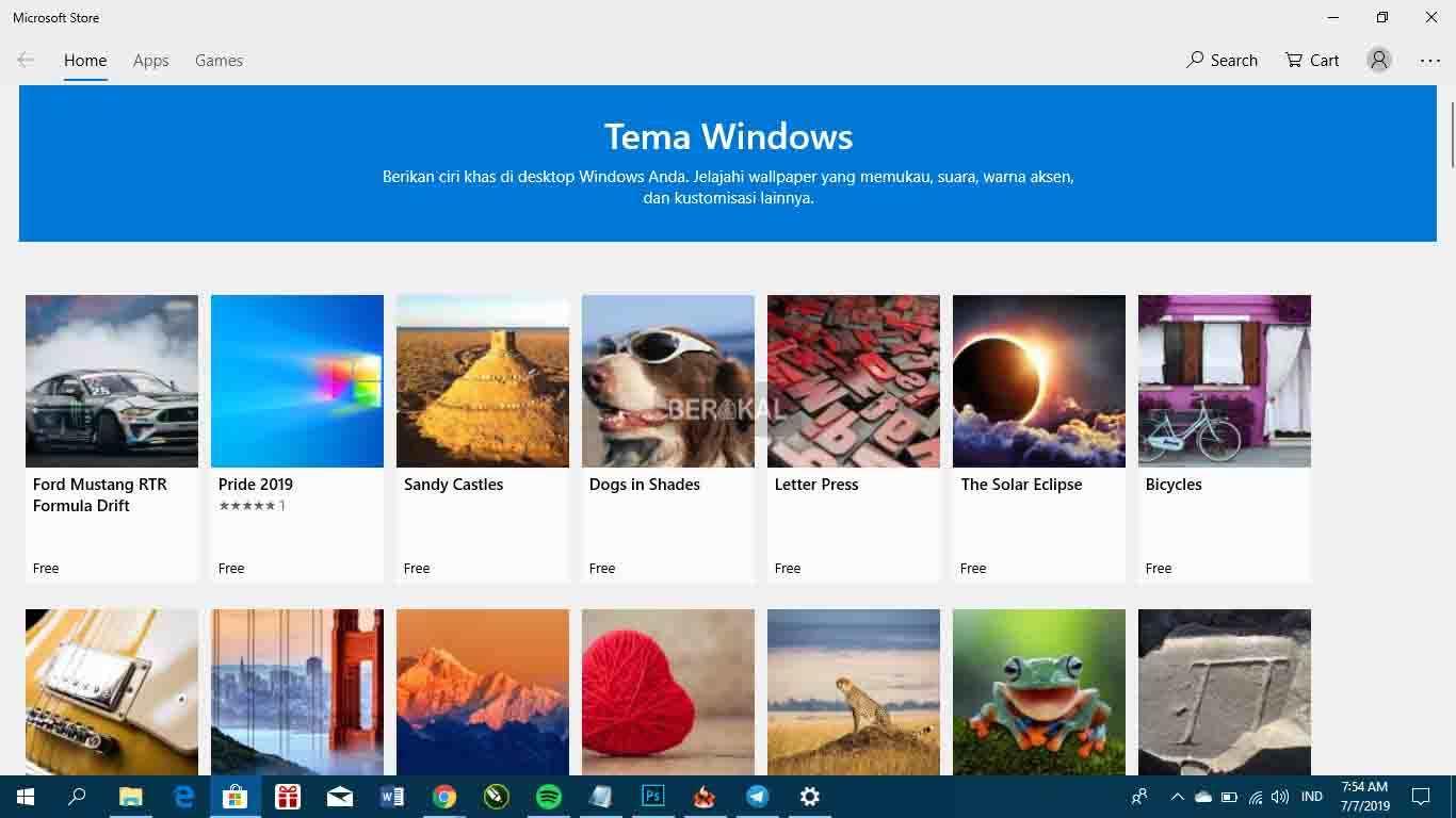 Tema gratis di Microsoft Store