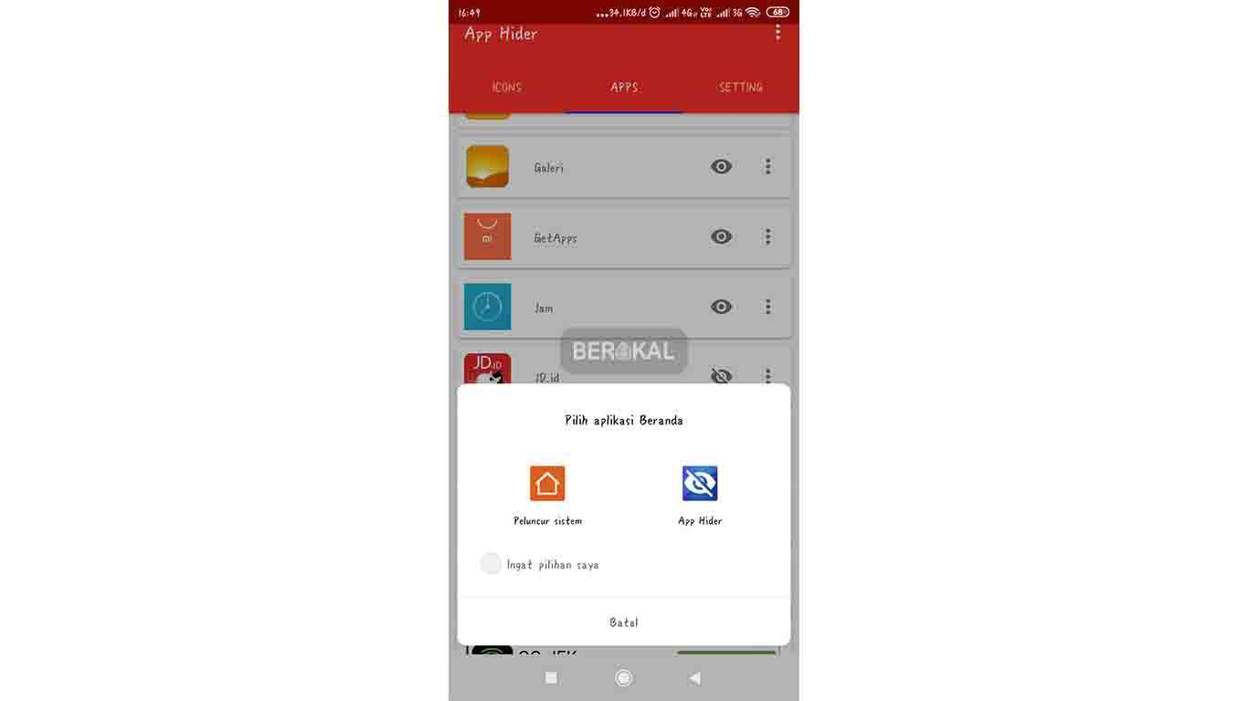 atur launcher hide app