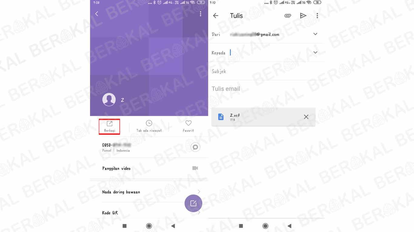 cara berbagi kontak dengan akun Gmail