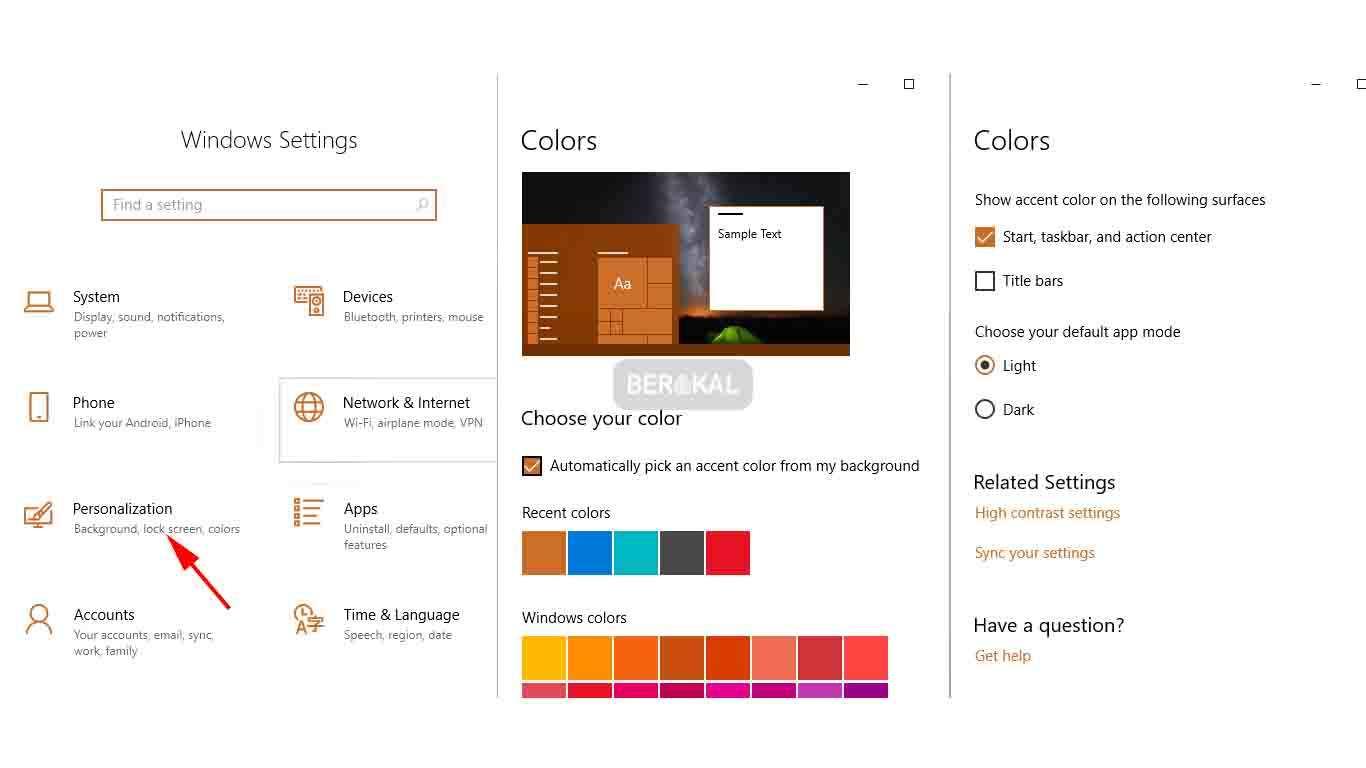 cara mengubah tampilan warna taskbar windows 10
