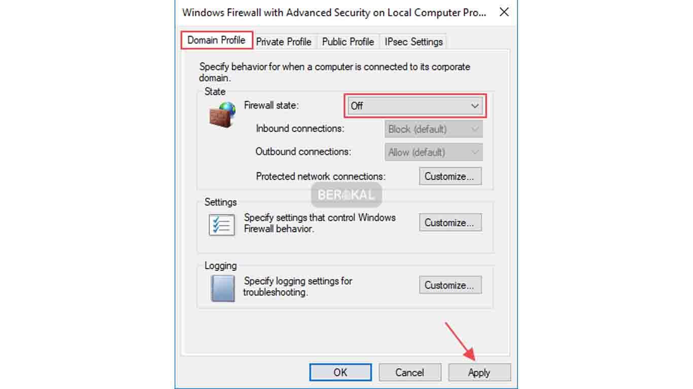 domain profile di windows firewall