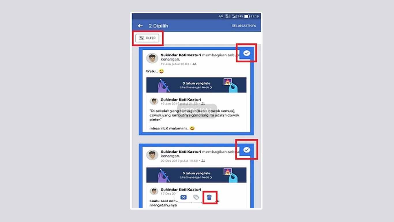 filter postingan fb